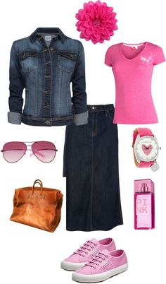 """pink"" by leslie-hall on Polyvore...not the shoes"