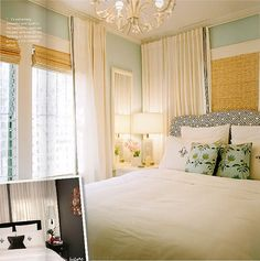 I love the mixture of the delecate linnen curtains and the bamboo blinds! Beachy Bedroom by It's Great To Be Home Dream Bedroom, Home Bedroom, Bedroom Decor, Master Bedroom, Bedroom Ideas, Bedroom Colors, Serene Bedroom, Bedroom Styles, Bedroom Inspiration