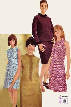 Photo galleries of vintage women's fashion in the fifties, sixties, seventies eighties, nineties. Pictures of retro fashion design from 1950 to 60s Mod Fashion, Fashion Mode, Vintage Fashion, Womens Fashion, Robes Vintage, Vintage Clothing, 60s Costume, Style Année 60, 1960s Outfits