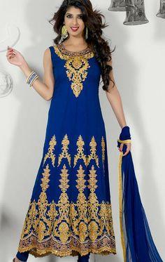 USD 84.61 Blue Faux Georgette A Line Embroidered Anarkali Suit 27243