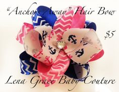 Anchors Away Hair Bow by LenaGraceCouture, $5.00