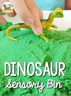 Dinosaur Sensory Bin with Kinetic Sand