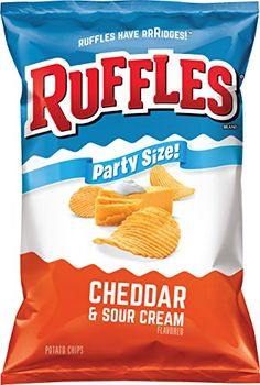 Grocery-Ruffles Potato Chip, Cheddar Sour Cream, Ounce *** Details can be… Sour Cream Chips, Sour Cream Potatoes, Junk Food Snacks, Easy Snacks, Ruffles Potato Chips, Potato Chip Flavors, Best Chips, Milk Ingredients, Food Packaging Design
