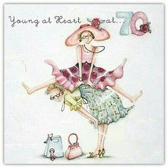 Young At Heart 70 Birthday Berni Parker Designs Card. 70th Birthday Card, Birthday Messages, Birthday Images, Happy Birthday Cards, Birthday Greetings, Birthday Wishes, Humor Birthday, Crazy Friends, Young At Heart