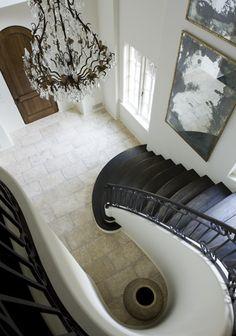 Suzie: Melanie Turner Interiors - Elegant dramatic winding staircase design with bronze crystal . Winding Staircase, Grand Staircase, Staircase Design, Curved Staircase, White Staircase, Home Interior, Interior Architecture, Interior And Exterior, Building Architecture
