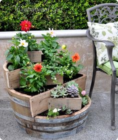 Recycled Wine Barrel Planter - Centsational Girl