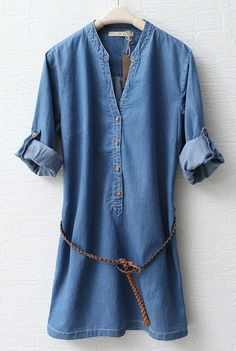 Blue Stand Collar Long Sleeve Denim Dress - Sheinside.com: Love the over sized bf tee shirt look this dress has!
