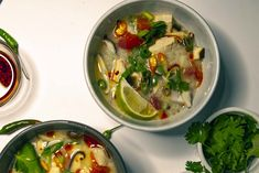 Tom Kha Gai is the best Chicken Coconut Soup you have yet to try. This baby has the most intense flavor combos you will fall in love with! Chicken Coconut Soup, Spicy Thai, Kaffir Lime, Chili Oil, Agave Nectar, Roma Tomatoes, Lime Wedge, Fish Sauce, Lemon Grass