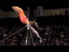 Shawn Johnson gif. 2008 Visa Championships Day 1 Bars double layout dismount #gymnastics