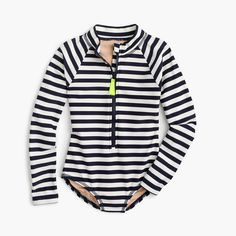 This is awesome! A rash guard and a one piece all in one! Pair it with some board shorts and your girl is ready to surf! From J.Crew sizes 3-14
