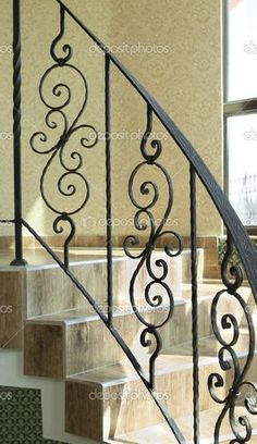 Baixar - Railing internal stairs in a building — Imagem de Stock Modern Stair Railing, Wrought Iron Stair Railing, Balcony Railing Design, Stair Handrail, Staircase Design, Entryway Stairs, Rustic Stairs, House Stairs, Flooring For Stairs