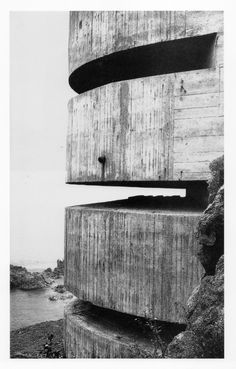 Paul Virilio's architectural research of 15,000 Nazi bunkers built during WW II along the coastline of France is fascinating. Their tilting, haphazard position is due to that their massive walls are not anchored in the ground, allowing them to slightly move whenever a bombshell explode nearby.