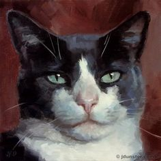 "Daily Paintworks - ""Smug Cat"" - Original Fine Art for Sale - © J. Dunster"