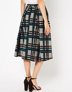 ASOS | ASOS Midi Skirt in Brushed Check at ASOS