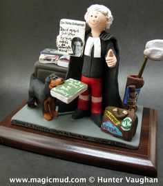 Legal Attorney Figurine Personalized by www.magicmud.com 1 800 231 9814 creating a custom made gift figurine for any man, based on the things he likes to do! ...incorporating his work, sports, family, hobbies, food, drink, electronic gadgets, etc. $225  #lawyer #dad #men #guys #christmas #birthday #anniversary #custom #personalized #xmas #present #award #ChristmasGift# #BirthdayGift #husband #boyfriend #uncle