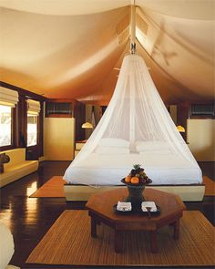 """""""glam camping"""" in Indonesia (Amanwana, Moyo Island). They left a nice little gift in the room each day."""