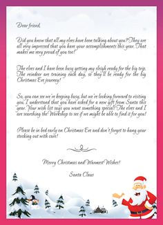kids Letters to Santa - Enjoy Christmas with Santa Claus at the North pole, an award-winning Christmas web site. Send a letter to Santa Claus or a Christmas card to a friend.