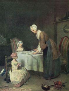 """Jean Baptiste Simeon Chardin """"La oración antes de la cena» / www.kulturamira.ru"""