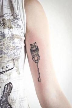 Owl key tattoo