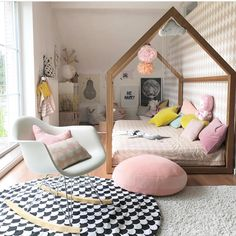 Pastel kids room, love the eames rocking chair. Kids Bedroom Designs, Kids Room Design, Eames Rocking Chair, Rocking Chair Nursery, Scandinavian Kids Rooms, Pastel Room, Deco Kids, House Beds, Suites