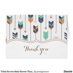 Tribal Arrows Baby Shower Thank You Teal Orange Card Tribal Arrows Baby Shower Thank You Card. Navy blue, orange, taupe and teal tribal arrows pattern. Cute boho design perfect for a boy, girl, or twins baby shower theme.