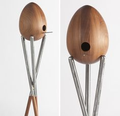 The egg-shaped Birdhouse from CPopp Workshop comes atop a three-legged. Designed by Curtis Popp, the birdhouse is milled by hand from solid hand-oiled walnut for indoor use or marine-varnished teak for outdoor use.