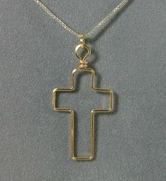 Simple Handmade Wire Wrapped Cross Pendant by MystikCritterZ, $6.00
