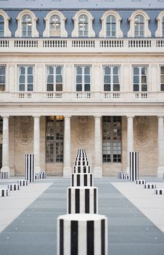 Palais Royal, Paris, France—One of the beautiful juxtapositions of old and new.In the 17th century, the palace was the home of Cardinal Richelieu, the famed Machiavellian antagonist in The Three Musketeers. Today, it is one of the best examples of Paris' clever mix of history and contemporary. Since 1986, it is home to the Colonnes de Buren, art installation by French artist Daniel Buren. - AS