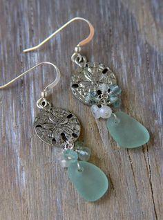Items similar to Aqua Sea Glass Earrings with Semi Precious Stones on Etsy