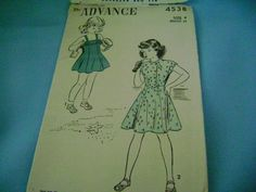 VINTAGE 50s 60s ADVANCE SEWING PATTERN GIRLS JUMPER OR DRESS SZ 4 #Advance