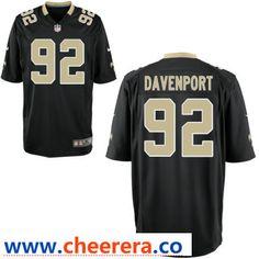 bf76978340c Men's New Orleans Saints #92 Marcus Davenport Black Team Color Stitched NFL  Nike Game Jersey