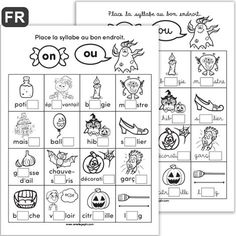 Syllabes OU et ON, Halloween - Educational Activities Read In French, French Kids, Learn French, French Teaching Resources, Teaching French, Speech Therapy Activities, Educational Activities, Grade 1 Reading, Core French