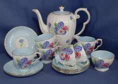 Vintage Royal Grafton Coffee Set in a Blue Cornflower Pattern in Pottery, Porcelain & Glass, Porcelain/China, Grafton/ Royal Grafton | eBay