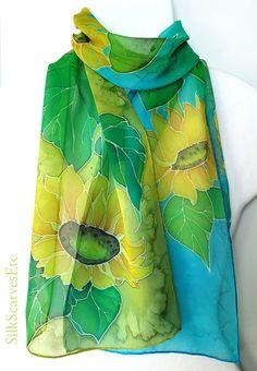 Summer scarf. Sunflowers scarf. Silk chiffon by SilkScarvesEtc, $109.00