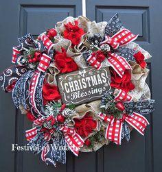 Christmas Wreath Christmas Front Door Wreath by FestivalofWreaths