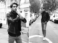 Actor Luke Pasqualino for The Picture Journal. Leather jacket by TIGER OF SWEDEN. Shirt by VALENTINO. Trousers by TOPMAN. Trainers by WHISTLES. Photographer: Jessie Craig. Stylist: Christopher Preston. Grooming: Gigi Hammond.