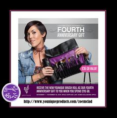 CUSTOMER KUDOSNovember 1 - November 30, 2016 FOURTH ANNIVERSARY GIFT Receive the new Younique Brush Roll worth £36 GBP as our Fourth Anniversary Gift to you when you spend £115 #younique #beauty #makeup #cosmetics #london #uk #england #wales #scotland #unitedkingdom