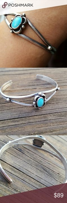 Vintage Turquoise & Silver Beautiful  Pure Blue Turquoise  Set In Genuine Silver  Vintage  Fits A Small To Medium Wrist 2 -1/4 Inches From Side to Side Jewelry Bracelets