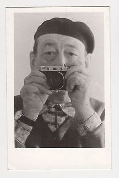 Mature Man Made Selfie with Camera on Mirror Orig Vintage Real Photo 1980s
