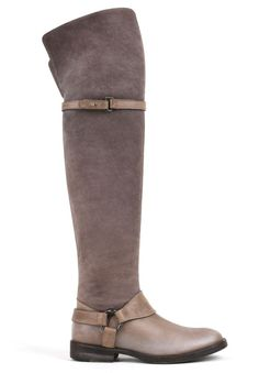 BRUNELLO CUCINELLI TAUPE GRAY LEATHER HARNESS OVER THE KNEE RIDING BOOTS SZ 36 #BrunelloCucinelli #RidingEquestrian