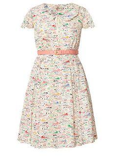 Silk Crepe Riviera Print Scallop Neck Dress Multi