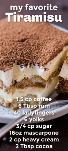 Tiramisu is a classic Italian no-bake dessert made with layers of ladyfingers and mascarpone custard cream (no raw eggs! Truly the best homemade tiramisu. Best Tiramisu Recipe, Homemade Tiramisu, Tiramisu Cake, Coffee Tiramisu Recipe, Authentic Tiramisu Recipe, Homemade Snickers, Köstliche Desserts, Delicious Desserts, Yummy Food