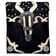 """New Trending Bumbags: The Chic Bag - Rhinestone Cowgirl 4-way Bag With God all things are possible, - Turquoise Conchos, Buckle detailing  Crystals (Black; 6x8x1in) - BUY 2 GET A 3rd BAG FREE!. The Chic Bag – Rhinestone Cowgirl 4-way Bag """"With God all things are possible"""", – Turquoise Conchos, Buckle detailing  Crystals (Black; 6x8x1in) – BUY 2 GET A 3rd BAG FREE!  Special Offer: $39.95  277 Reviews The Chic Bag designs an"""