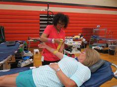 Former Ansonia High secretary Cheryl Warrell makes 53rd lifetime donation.