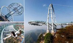The glass-bottomed viewing platform opened near Beijing, China, on Sunday. It claims to be the biggest of its kind in the world, protruding 107 feet over the edge of the cliff.