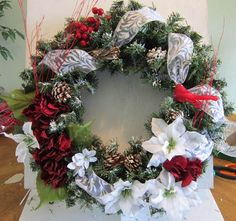 ...at the cottage - evergreen wreath with red hydrangeas and white poinsettias and red cardinal created by DonElla Nielsen