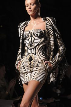 Leather dress and jacket - Balmain, 2012 ...... Looks like the pottery from Acoma Pueblo.