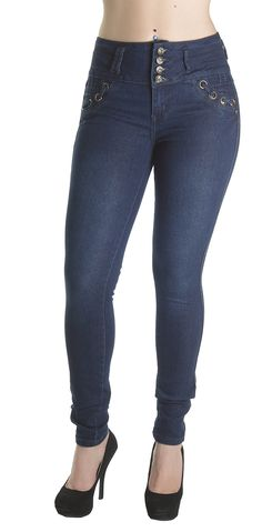 """K337- Colombian Design, Butt Lift, Levanta Cola, Mid Waist, Sexy Skinny Jeans in Navy Size 15. Butt lift Denim, 4 Vintage buttons on a wide waistband makes your tummy looks flatter,. Mid Waist Jeans, Imitation front pockets, no back pockets. Fashion Jeans for Women, Like the Brazilian jeans and Colombian jeans styles designed for the """"levanta cola"""" effect. Fabric blended with spandex for stretch and comfort. Style is running small, if unsure; please select a size up. Example of Size 5..."""