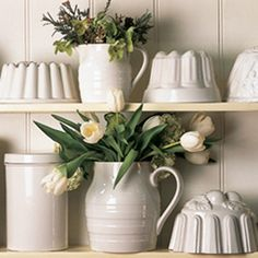 Natural Whiteware looks so stunning - and so rustic and perfect for that rainy day cuppa. French Country Cottage, White Cottage, Living Room White, White Dishes, White China, White Houses, Scandinavian Interior, Creme, Country Interiors