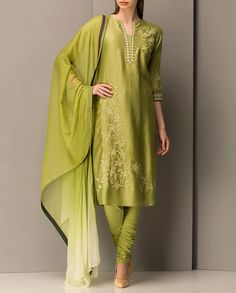 Embroidered Leaf Green Kurta Set - End of season sale - Sale